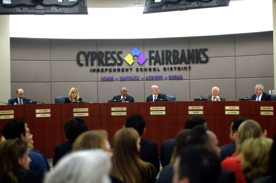 During the regular of the Cy-Fair Board of Trustees on Feb. 11, 2019, the board approved anelection to be held on May 4, 2019 for a $1.76 billion bond, the second largest in state school district history. Photo: Chevall Pryce