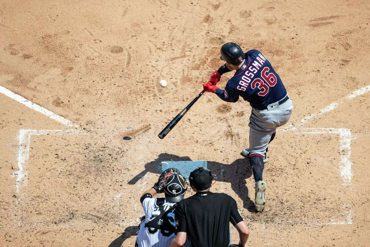 Robbie Grossman #36 of the Minnesota Twins bats against the Chicago White Sox on June 28, 2018 at Guaranteed Rate Field in Chicago Illinois. The Twins defeated the White Sox 2-1.