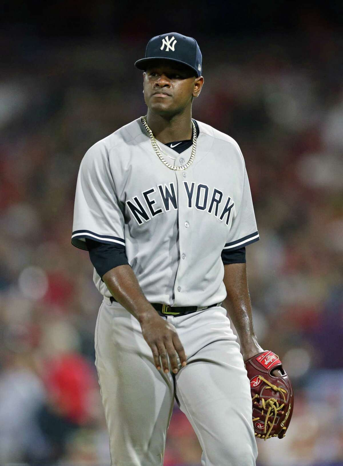 PHILADELPHIA, PA - JUNE 26: Starting pitcher Luis Severino #40 of the New York Yankees walks off the mound after finishing the seventh inning during a game against the Philadelphia Phillies at Citizens Bank Park on June 26, 2018 in Philadelphia, Pennsylvania. The Yankees won 6-0. (Photo by Hunter Martin/Getty Images)