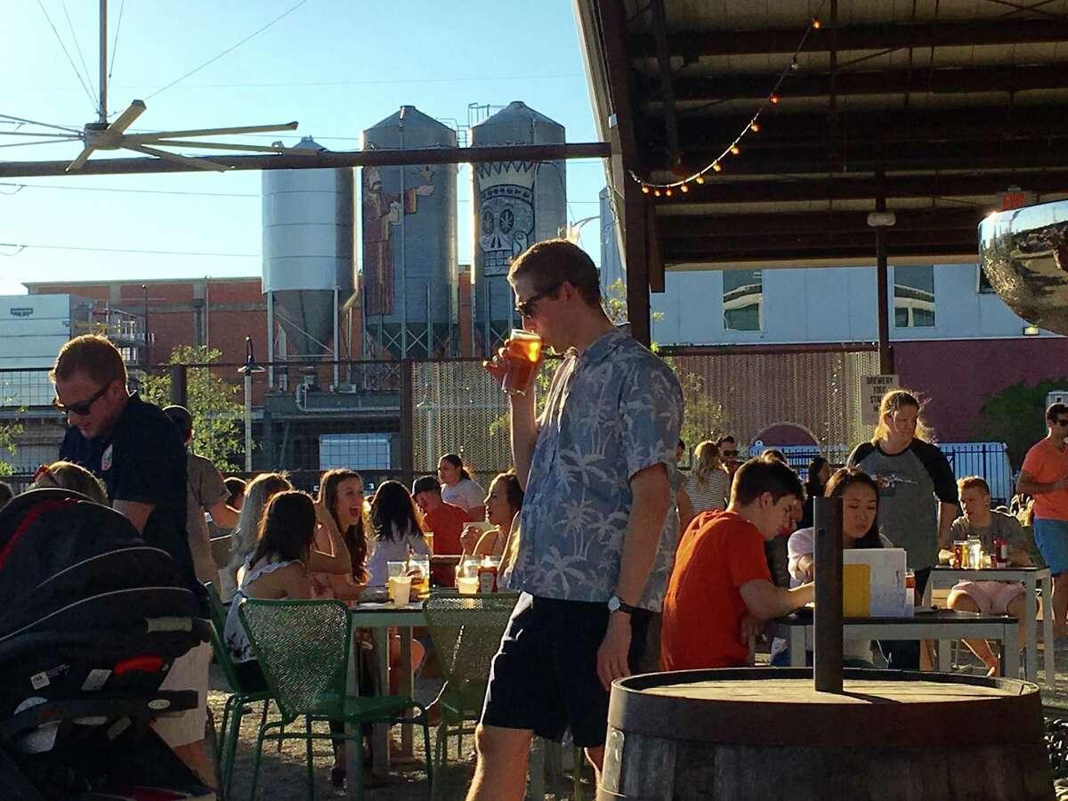 The sunny scene at Saint Arnold Beer Garden & Restaurant