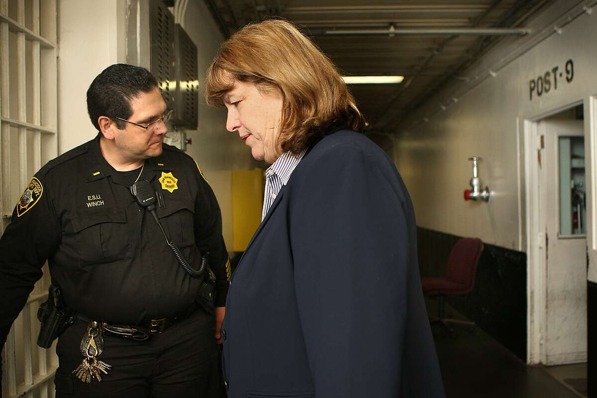 Vicki Hennessy, recently appointed sheriff, is touring the county jail in San Francisco, Calif., with Lieutenant Winch on Monday, April 9, 2012.