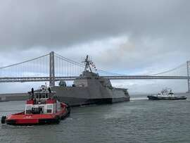 The future USS Tulsa, an Independence class littoral combat ship on the San Francisco Bay. The ship will be commissioned Saturday, Feb. 16, 2019 in San Francisco.