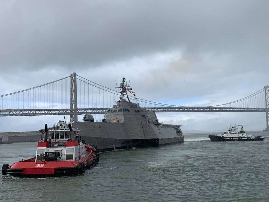 The future USS Tulsa, an Independence class littoral combat ship on the San Francisco Bay. The ship will be commissioned Saturday, Feb. 16, 2019 in San Francisco. Photo: US Navy