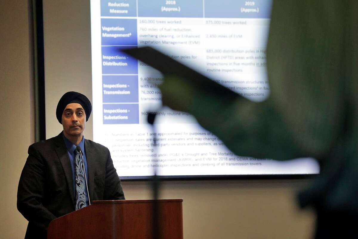 Sumeet Singh, PG&E Vice President, Community Wildfire Safety Program, listens to a question from the public during a hearing at the California Public Utilities Commission in San Francisco, Calif., on Wednesday, February 13, 2019. PG&E's presentation offered more insights about its state-mandated efforts to prevent its power lines from causing more wildfires, and outlined a massive expansion of the company's proactive power shutoffs that could impact any one of its 5 million electric customers.