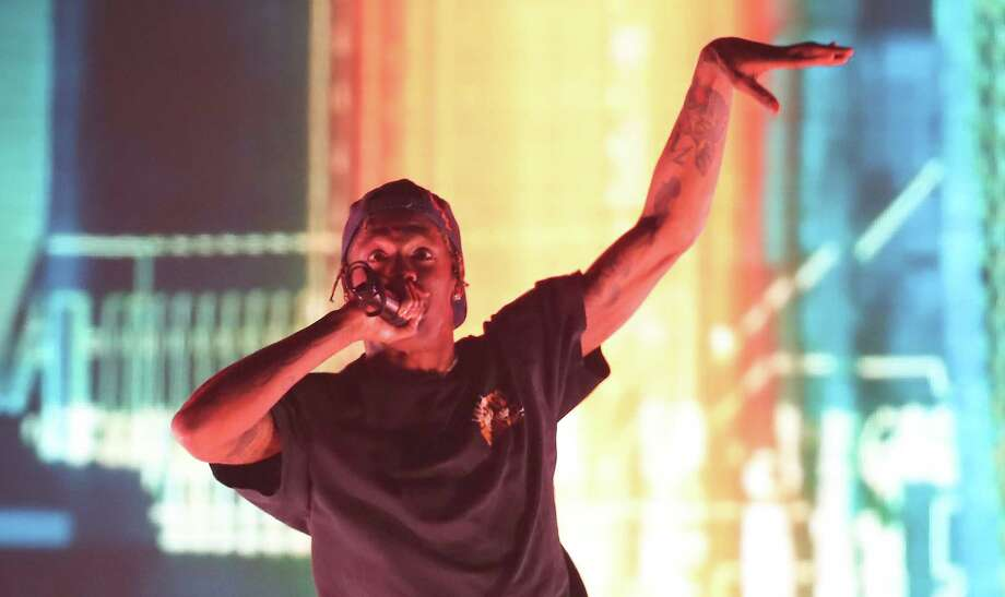 896172438a2c Houston's Mayor Sylvester Turner appeared on stage just before rapper Travis  Scott's song