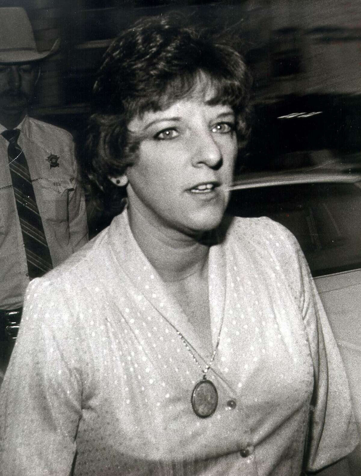 Genene Jones arrives at the courthouse in Georgetown, north of Austin, on Jan. 16, 1984. Jones, then a pediatric nurse working in San Antonio and Kerrville, was convicted in 1984 of killing 15-month-old Chelsea McClellan. In 2018, she was charged with murder in five other children's deaths.