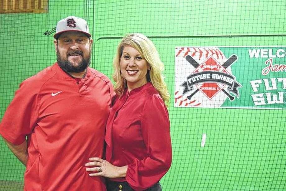 Adam and Kristin Jamison opened Jamison's Future Swing in June 2018 and are working together to make it a successful place for people to come and work on their baseball and softball skills. Photo: Samantha McDaniel-Ogletree | Journal-Courier