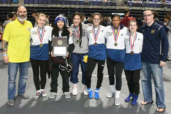 The Cypress Ranch girls wrestling team won its third straight district championship at the District 10-6A championships Feb. 7-8 at the Berry Center.