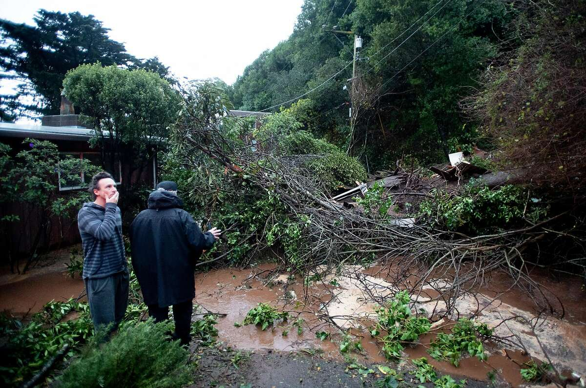A tree rests across Crescent Ave. in Sausalito, Calif., following a landslide on Thursday, Feb. 14, 2019. The mudslide destroyed at least two vehicles and a home.
