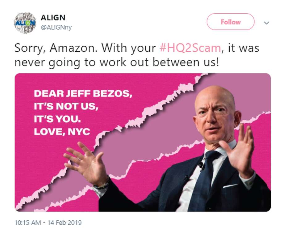 Twitter users went in on Amazon for scrapping their New York HQ2 plans. Photo: Twitter