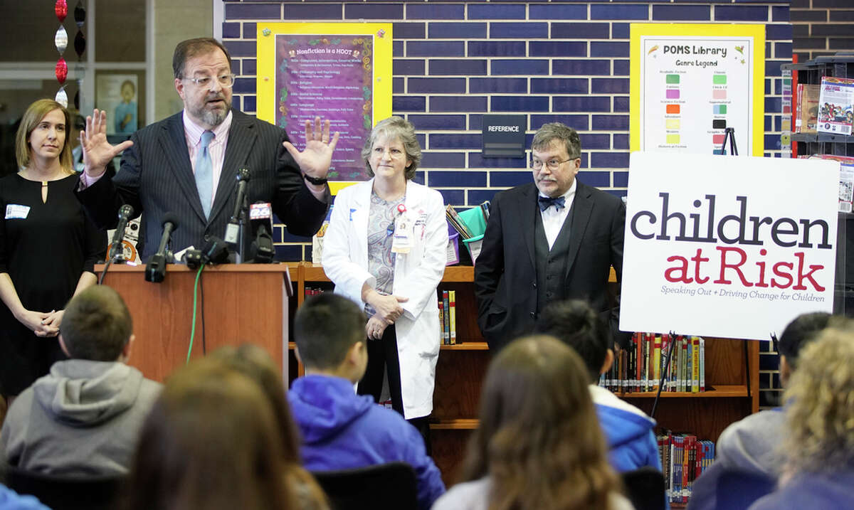 Bob Sanborn, president & CEO of Children at Risk, speaks during press conference at Pin Oak Middle School, 4601 Glenmont St., Wednesday, Feb. 13, 2019, in Houston. Advocates and public health experts gathered to urge lawmakers to support strong vaccine legislation.