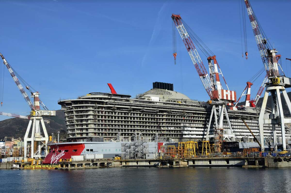 Virgin Voyages' Scarlet Lady will hit the Caribbean next year- currently under construction.