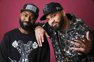 "Desus Nice, left, and The Kid Mero, hosts of the Showtime talk show ""Desus & Romero,"" pose together for a portrait during the 2019 Winter Television Critics Association Press Tour, Thursday, Jan. 31, 2019, in Pasadena, Calif. (Photo by Chris Pizzello/Invision/AP)"