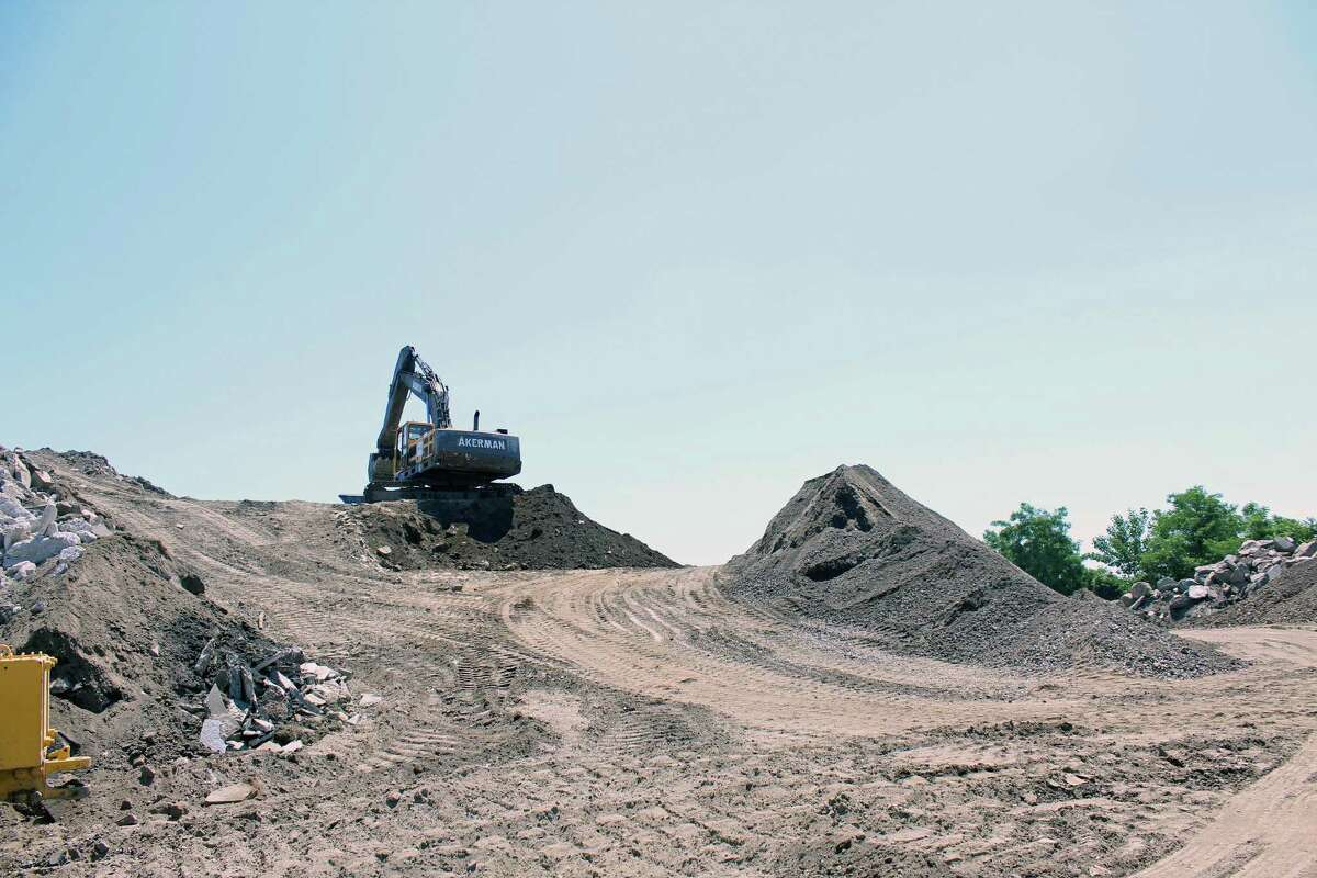 Some residents are unhappy with a large fill pile at the Public Works yard, and the town is working to reduce its size and install screening. Fairfield, CT. June 27,2016