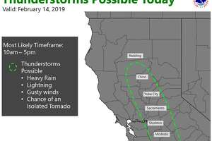 The NWS Sacramento posted a warning of thunderstorms in the Sacramento Valley on Feb. 14, 2019.