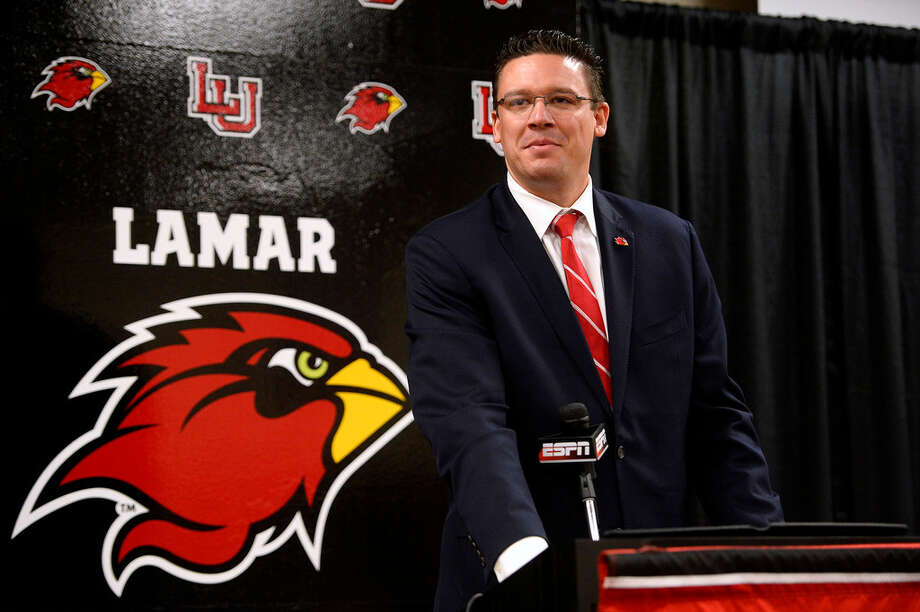 Lamar's new athletic director Marco Born speaks during his introductory press conference. Born comes to Lamar University from Louisiana Tech, where he has been an executive associate athletic director. 