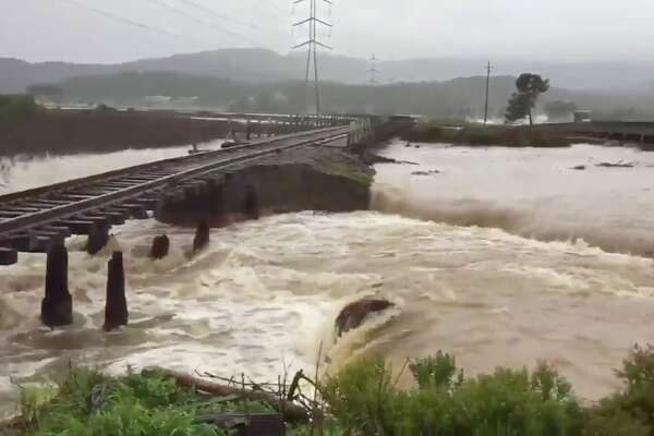 A levee breach on the Novato Creek near Highway 37 on Feb. 14, 2019 is threatening the Northwest pacific railroad tracks.