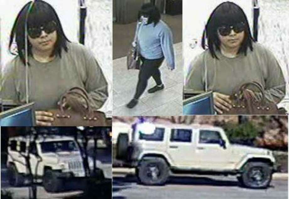 Camera surveillance stills taken show a womanand the vehicle authorities sayshe fled in after committing armed robbery ata Woodlands Chasebank. Photo: Courtesy Of The Montgomery County Sheriff's Office