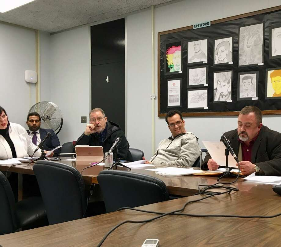 Bridgeport board of education members discuss new bylaws in Room 305 of City Hall. Feb. 13, 2019 Photo: Linda Conner Lambeck