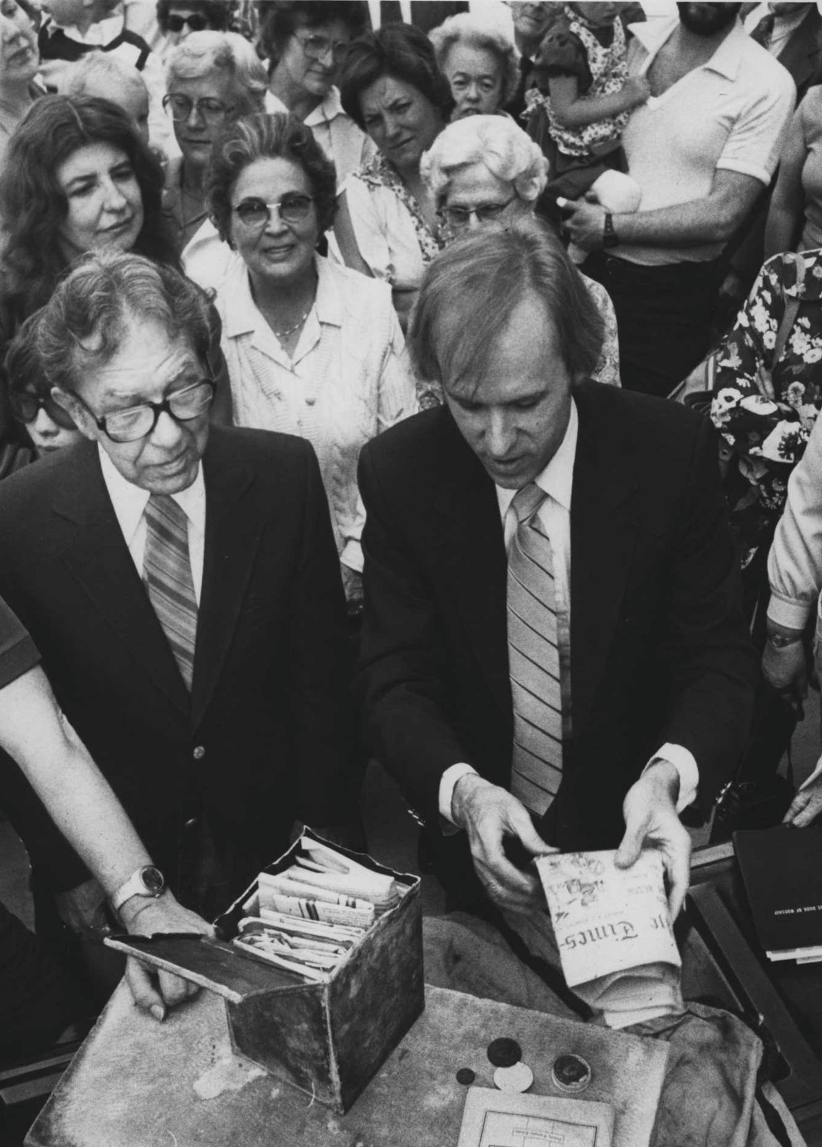 St. Paul's United Methodist Church, Castleton, May 26, 1981:Rev. Ashley Calhoun removes Times Union newspaper from time capsule. May 26, 1981 (Times Union Archive)
