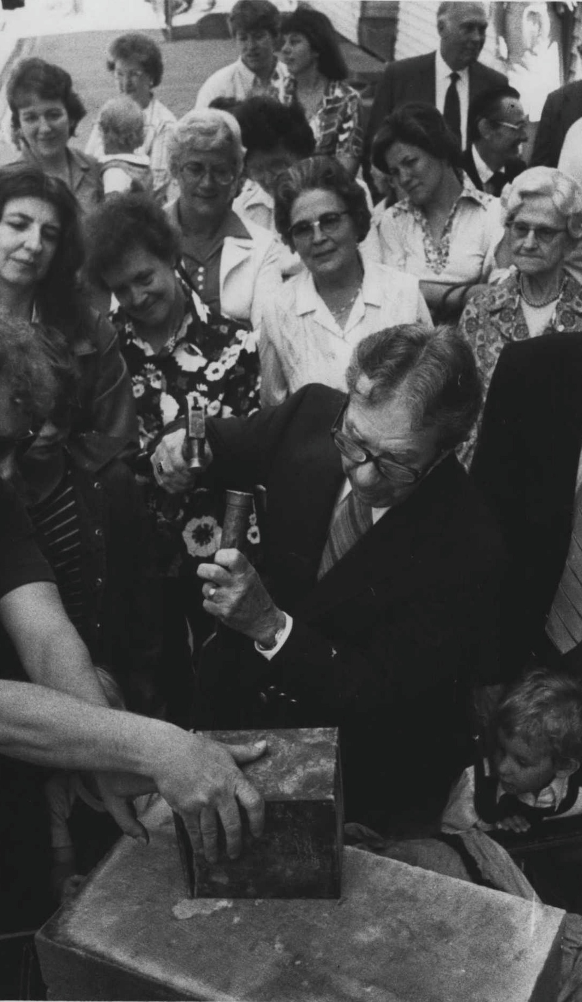 Click through the slideshow to see what we;ve buried in Capital Region time capsule over the years. St. Paul's United Methodist Church, Castleton, May 26, 1981:Perry Finkle opens a time capsule from 1908 on May 26, 1981. (Times Union Archive)
