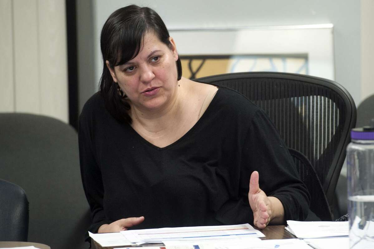 Board of Education member Maria Pereira speaks at a Finance Committee meeting for Bridgeport Public Schools in Bridgeport Conn. Nov. 2, 2017. The meeting was held to address a budget shortfall left by the recently passed state budget.