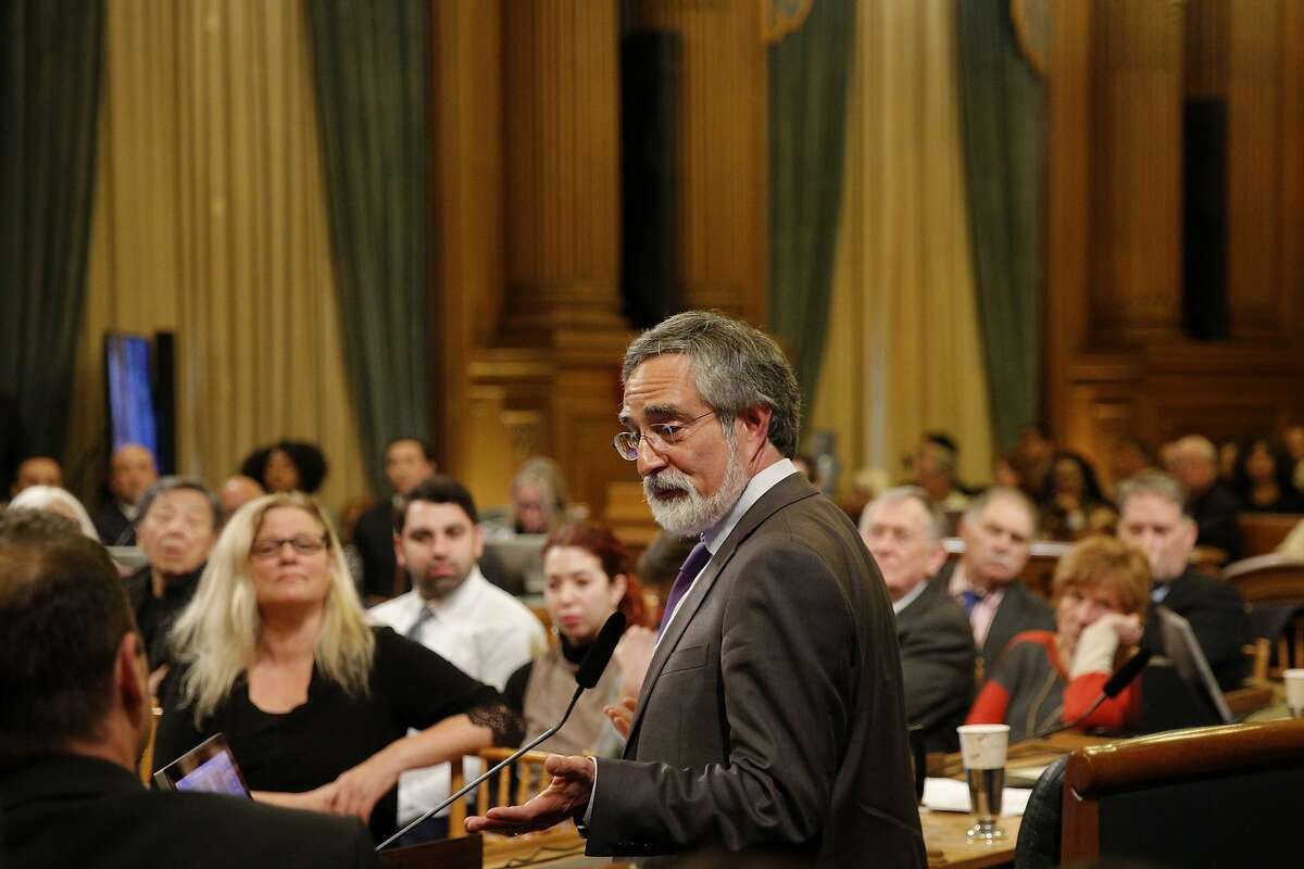 District 3 supervisor Aaron Peskin gives remarks before a vote by the Board of Supervisors to elect its new president at City Hall on Tuesday, Jan. 8, 2019, in San Francisco, Calif.
