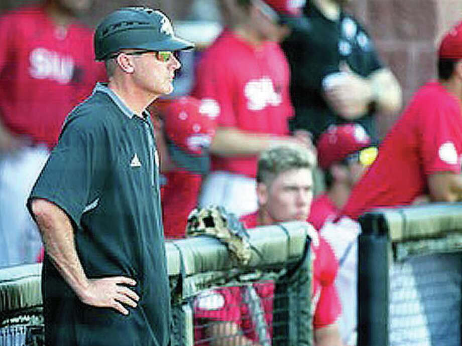 SIUE baseball coach Sean Lyons watches his team during last year's regular season. Photo: SIUE Athletics