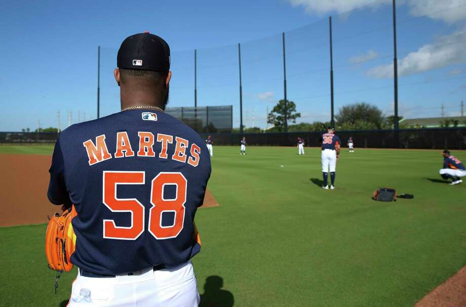 Houston Astros right handed pitcher Francis Martes (58) watches other pitchers pitch at Fitteam Ballpark of The Palm Beaches on Day 1 of spring training on Thursday, Feb. 14, 2019, in West Palm Beach. Photo: Yi-Chin Lee, Houston Chronicle / © 2019 Houston Chronicle