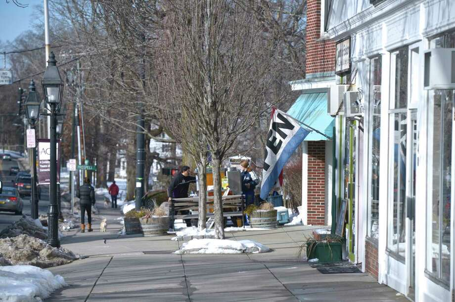 Storefronts in downtown Ridgefield, Conn, Thursday, February 14, 2019. Photo: H John Voorhees III, Hearst Connecticut Media / The News-Times