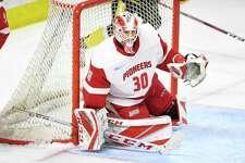 First-year Sacred Heart University goalie Josh Benson.