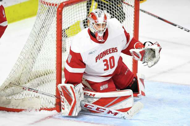 First-year Sacred Heart University goalie Josh Benson.