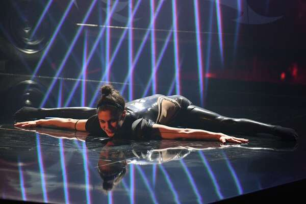 """Acrobat Stefanie Millinger performing onstage during the """"Das Supertalent 2017"""" show in Cologne, Germany,in December 2017."""