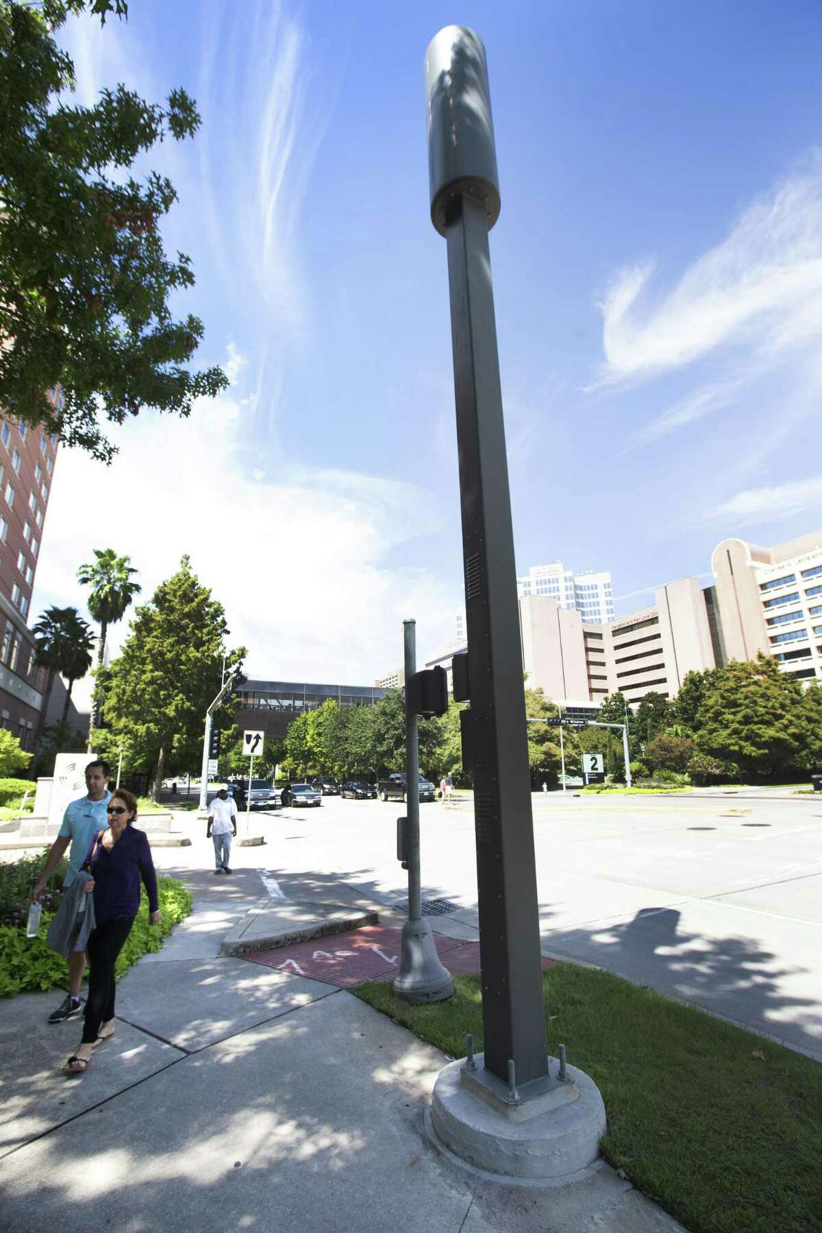 A small cell node, owned by Crown Castle, is shown in the Texas Medical Center on Tuesday, Sept. 23, 2014, in Houston. ( Brett Coomer / Houston Chronicle )