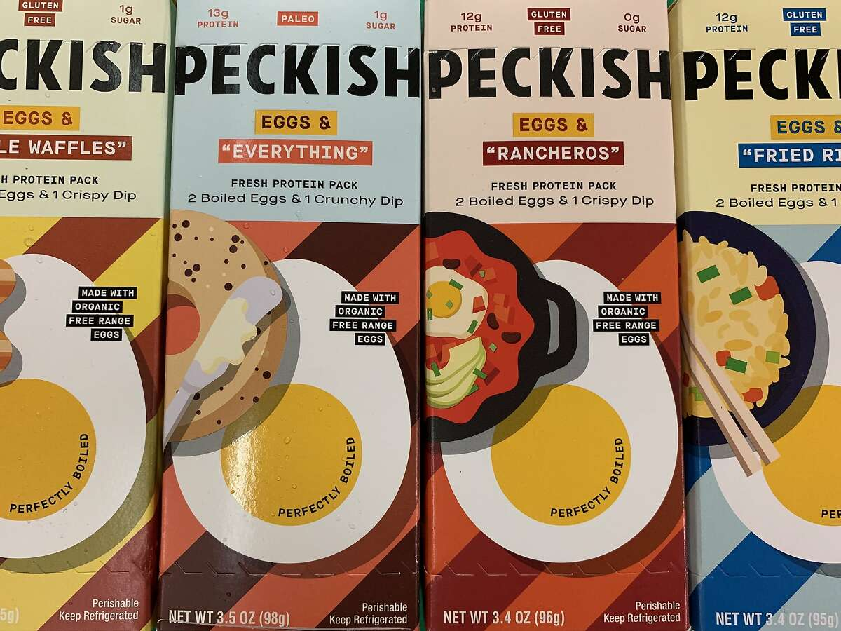 Peckish, a line of hard-boiled snacking eggs from Sonoma Brands, come with assorted seasonings for dipping.