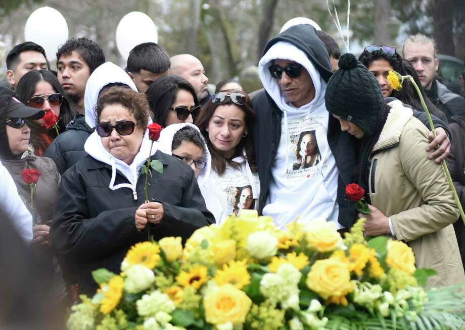 Friends and family of homicide victim Valerie Reyes attend her burial at Greenwood Union Cemetery in Rye, N.Y. Wednesday, Feb. 13, 2019. Reyes, 24, of New Rochelle, N.Y., was found in a suitcase in Greenwich, Conn. on Tuesday, Feb. 5. Police arrested Javier da Silva, of Flushing, Queens, N.Y., in connection with the killing. Photo: Tyler Sizemore / Hearst Connecticut Media / Greenwich Time