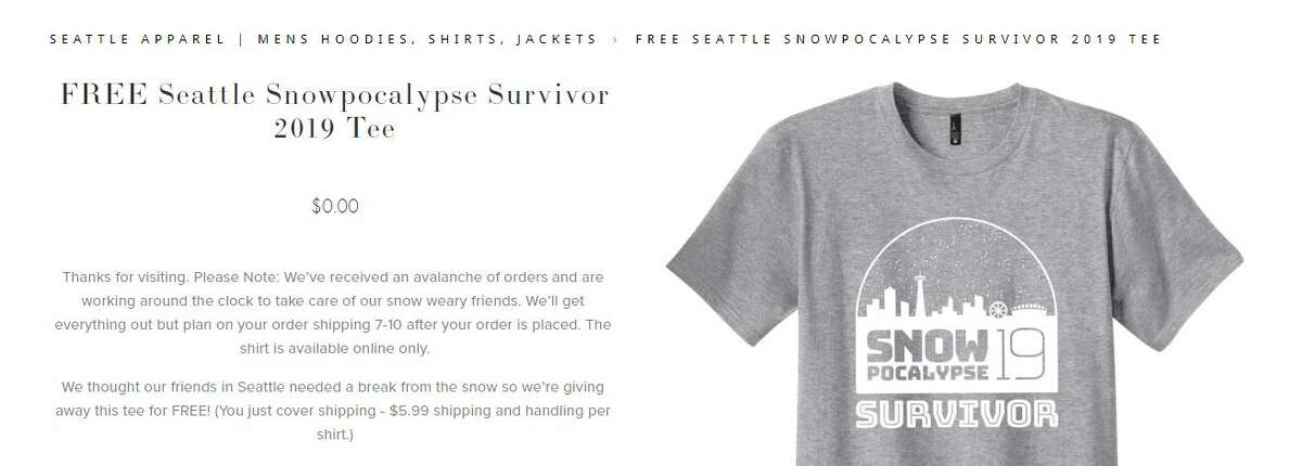 """The """"Snowpocalypse Survivor 2019"""" T-shirt, as seen on the Simply Seattle website. The shirt was designed by Hero Creative."""