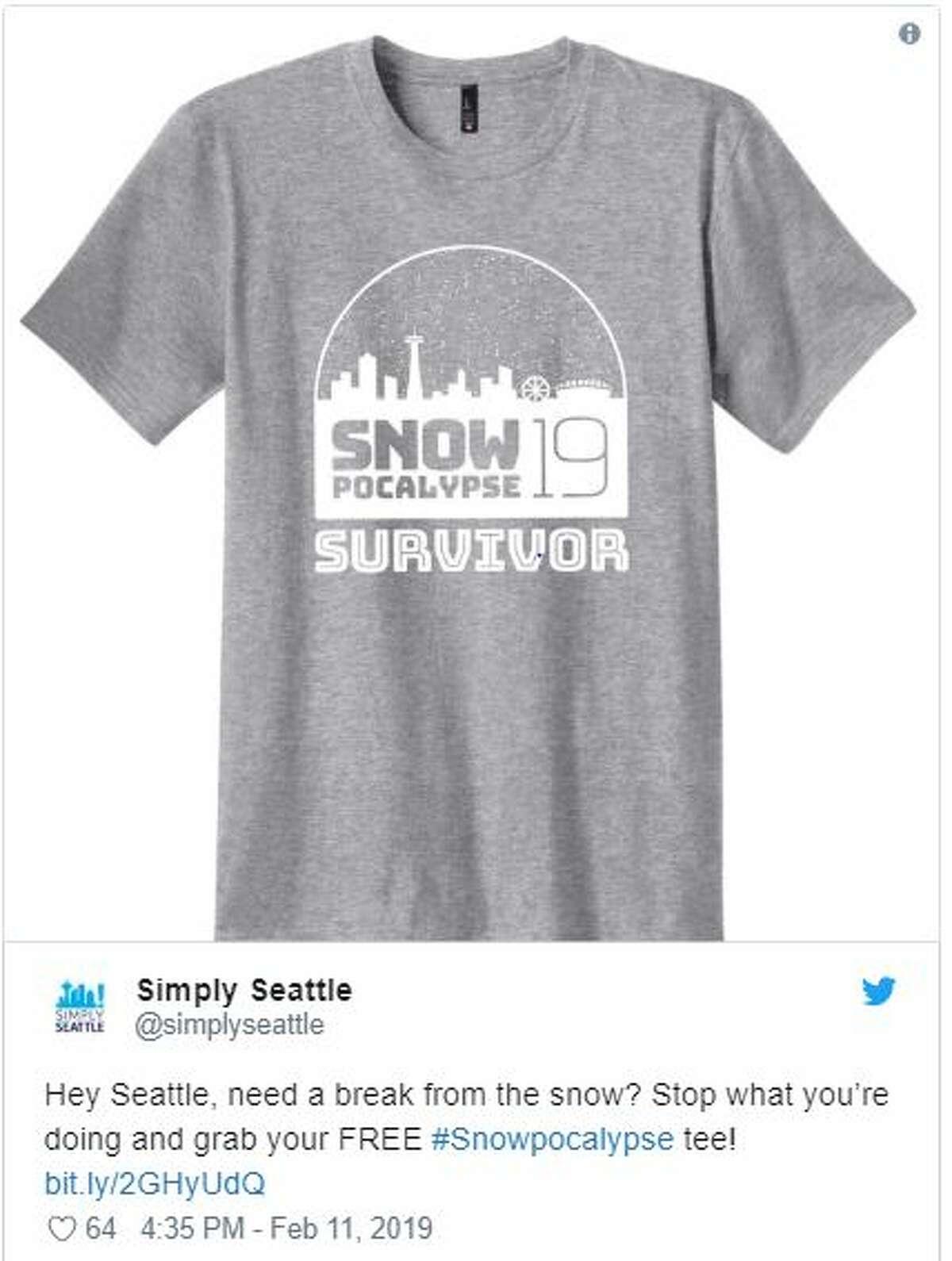 "The ""Snowpocalypse Survivor 2019"" T-shirt, as seen on Twitter. The shirt was designed byHero Creative."