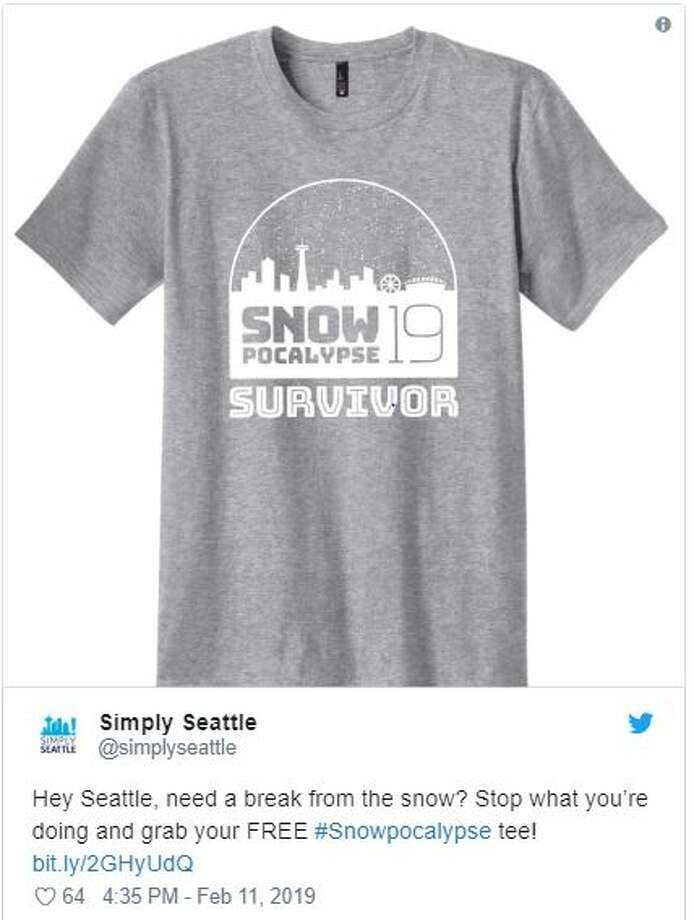 "The ""Snowpocalypse Survivor 2019"" T-shirt, as seen on Twitter. The shirt was designed by Hero Creative. Photo: Twitter Screen Grab"