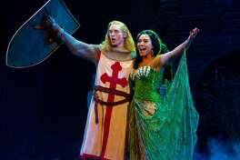 "Leslie Jackson, right, and Troy Bruchwalski in ""Spamalot."""
