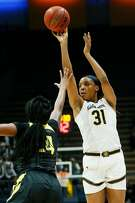 California Golden Bears forward/center Kristine Anigwe (31) shoots against the Oregon Ducks in the second half of an NCAA women's basketball game at Haas Pavilion on Friday, Feb. 8, 2019, in Berkeley, Calif.