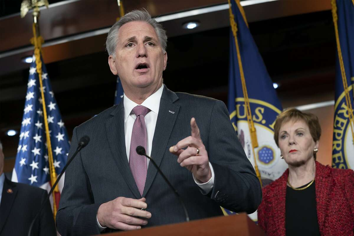 House Minority Leader Kevin McCarthy, R-Calif., joined at right by Rep. Kay Granger, R-Texas, the top Republican on the House Appropriations Committee, speaks to reporters about the bipartisan border security compromise needed to avert another government shutdown, at the Capitol in Washington, Wednesday, Feb. 13, 2019. (AP Photo/J. Scott Applewhite)