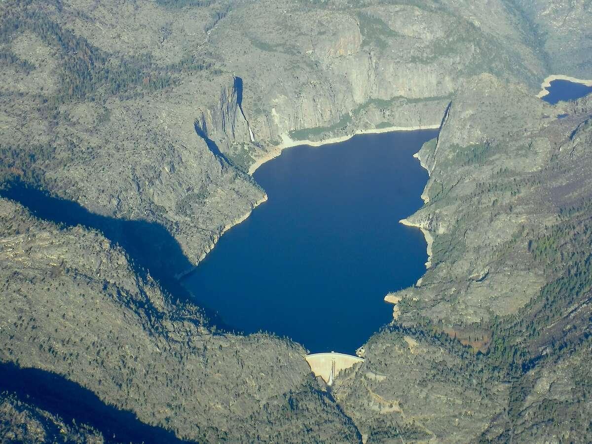 Hetch Hetchy Reservoir in Yosemite National Park viewed from airplane