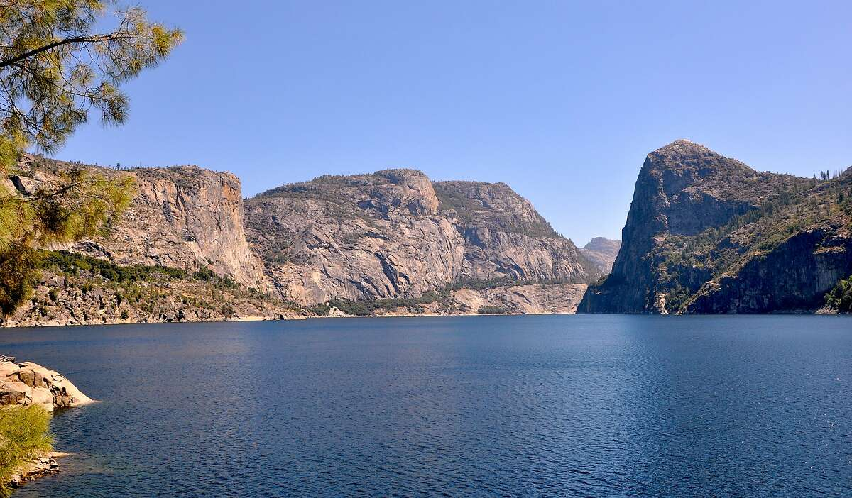 Hetch Hetchy Reservoir viewed from the trail that passes over the dam and beyond along the lake to Wapama Falls.