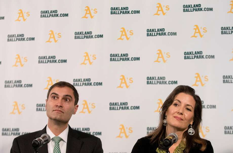 A's President Dave Kaval and Oakland Mayor Libby Schaaf take questions last year at the A's corporate offices after the team announced plans to build a ballpark at Howard Terminal. Photo: Jessica Christian / The Chronicle 2018