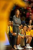 California head coach Lindsay Gottlieb watches her team take on Stanford during the first quarter of an NCAA women's basketball game on Saturday, Feb. 2, 2019 in Stanford, Calif.