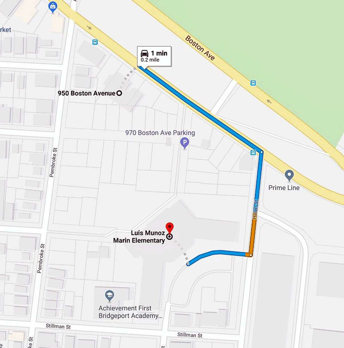 A screenshot from Google Maps shows the location of the school where the report of shots fired came in from and the location near where the homicide victim's body was found in Bridgeport, Conn., on Feb. 11, 2019.