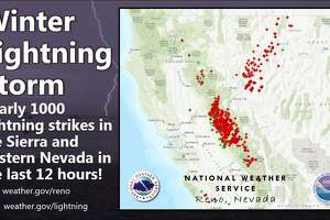A map shows the locations of close to 1,000 lightning strikes in the Sierra Nevada Mountain Range and western Nevada on Thursday, Feb. 14, 2019.