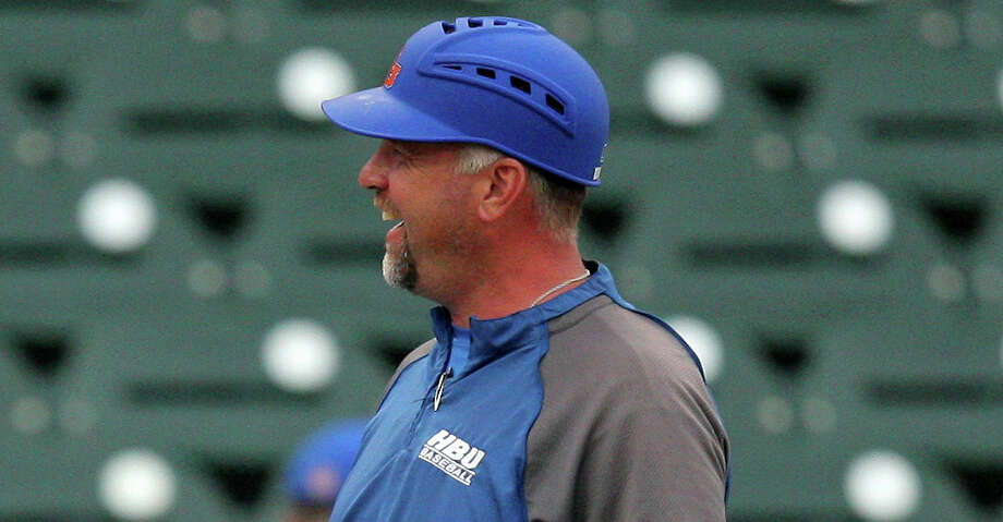 Houston Baptist coach Jared Moon during the Southland Conference tournament. Photo: Erik Williams/Southland Conference