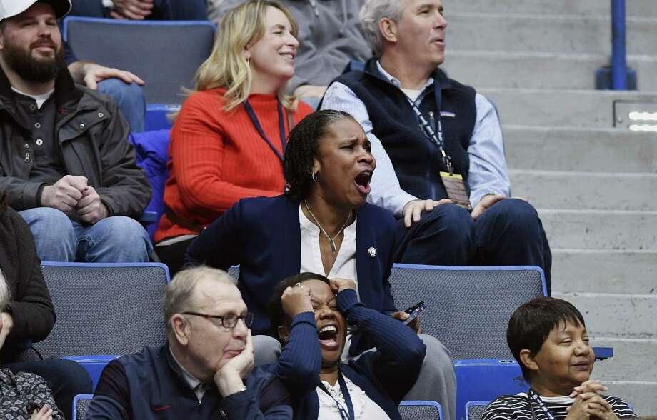 Jamelle Elliott, UConn's Associate Athletic Director for the National C Club, watches from the stands as the Huskies played UCF on Jan. 27 at the XL Center in Hartford. Elliott, a former UConn player and coach, returned to the the school last year. Photo: Jessica Hill / Associated Press / Copyright 2019 The Associated Press. All rights reserved